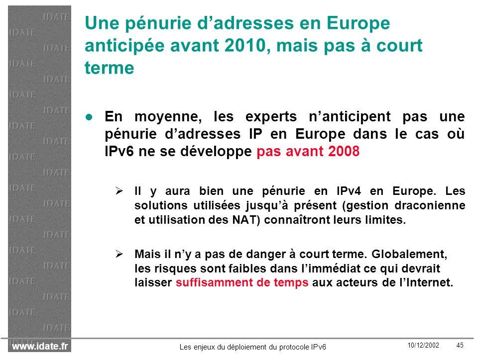 Une pénurie d'adresses en Europe anticipée avant 2010, mais pas à court terme