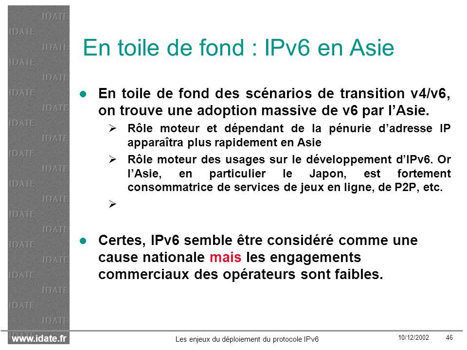 En toile de fond : IPv6 en Asie
