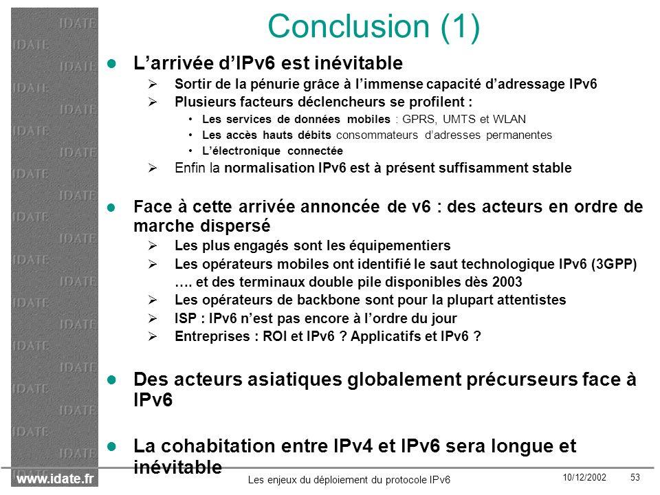 Conclusion (1) L'arrivée d'IPv6 est inévitable