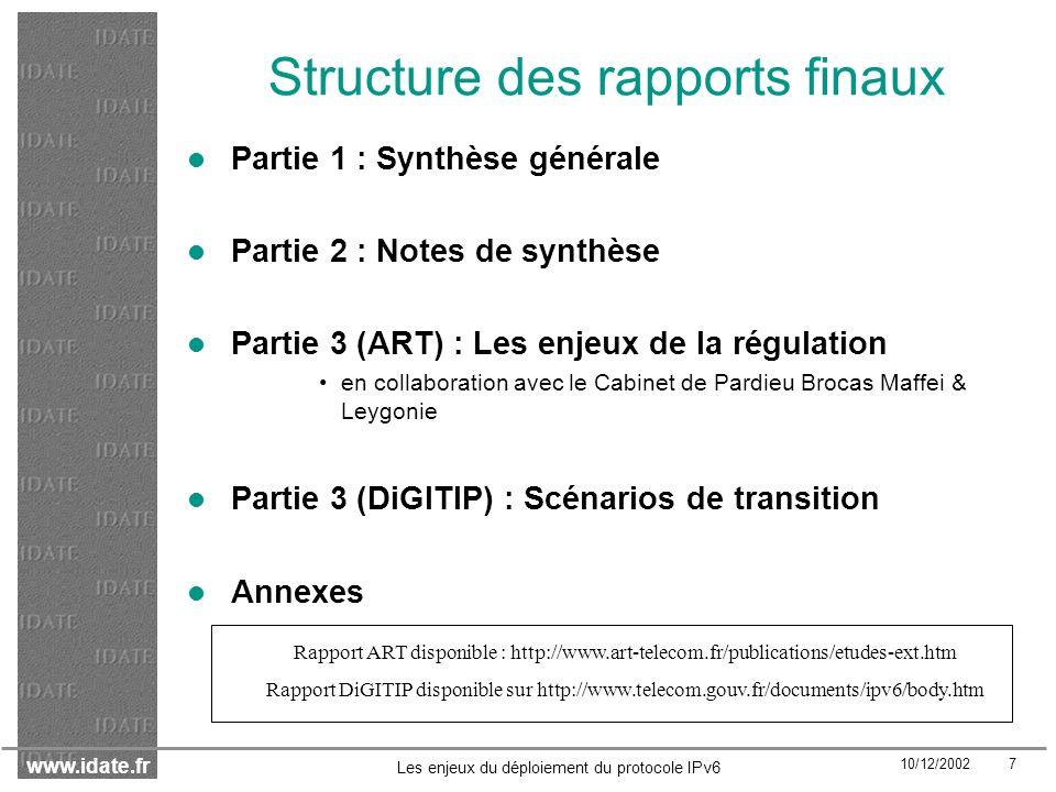 Structure des rapports finaux
