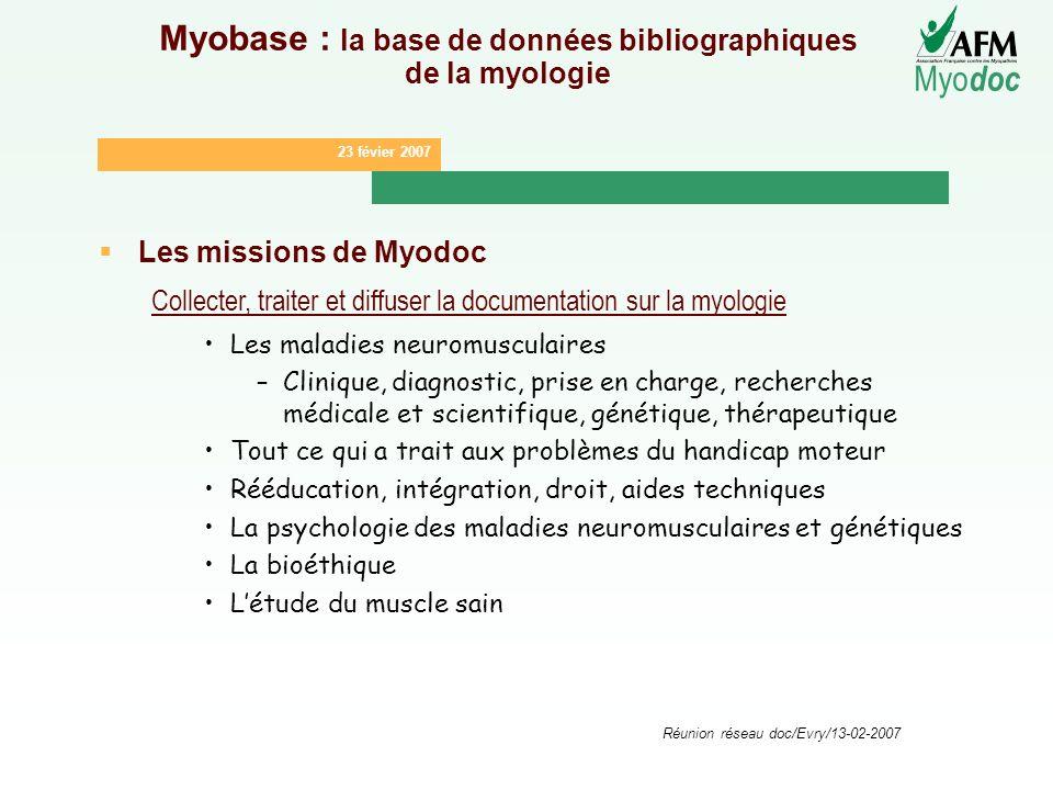 Myobase : la base de données bibliographiques de la myologie
