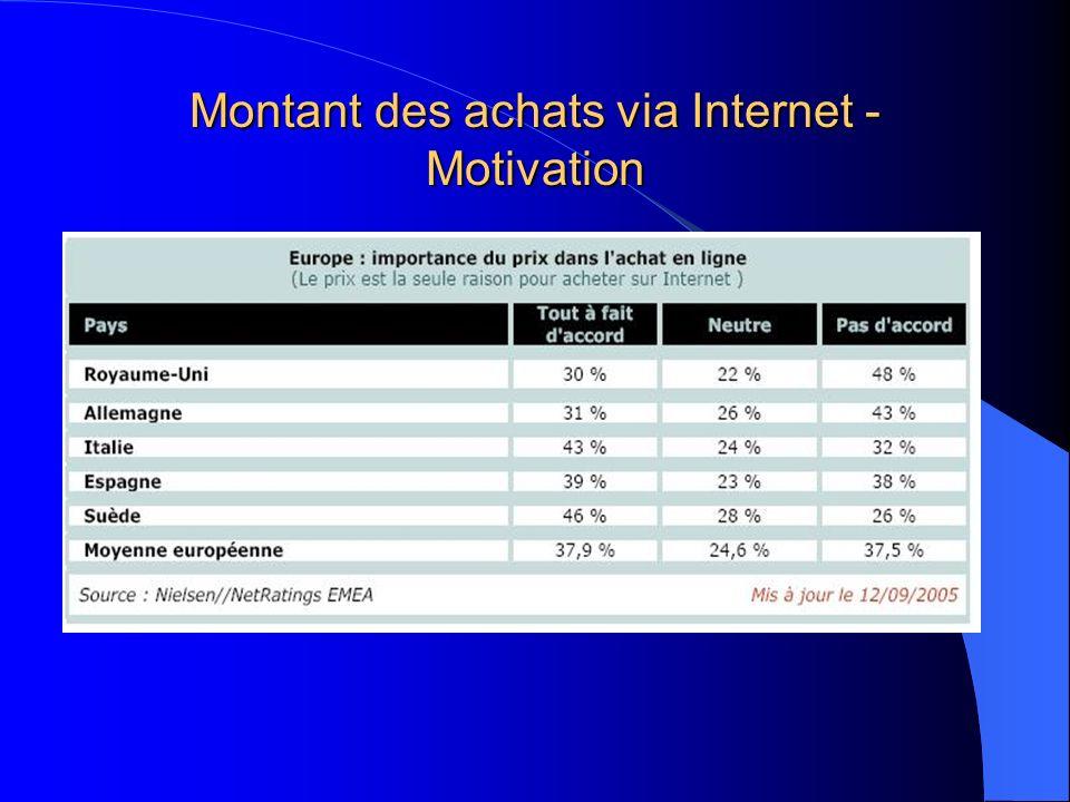 Montant des achats via Internet - Motivation