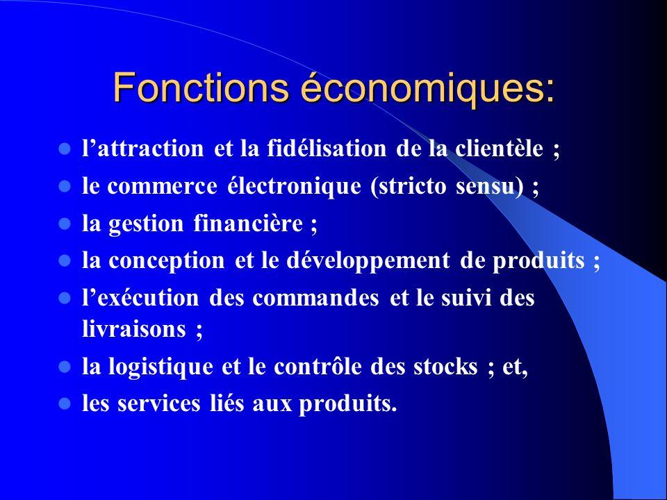 Fonctions économiques: