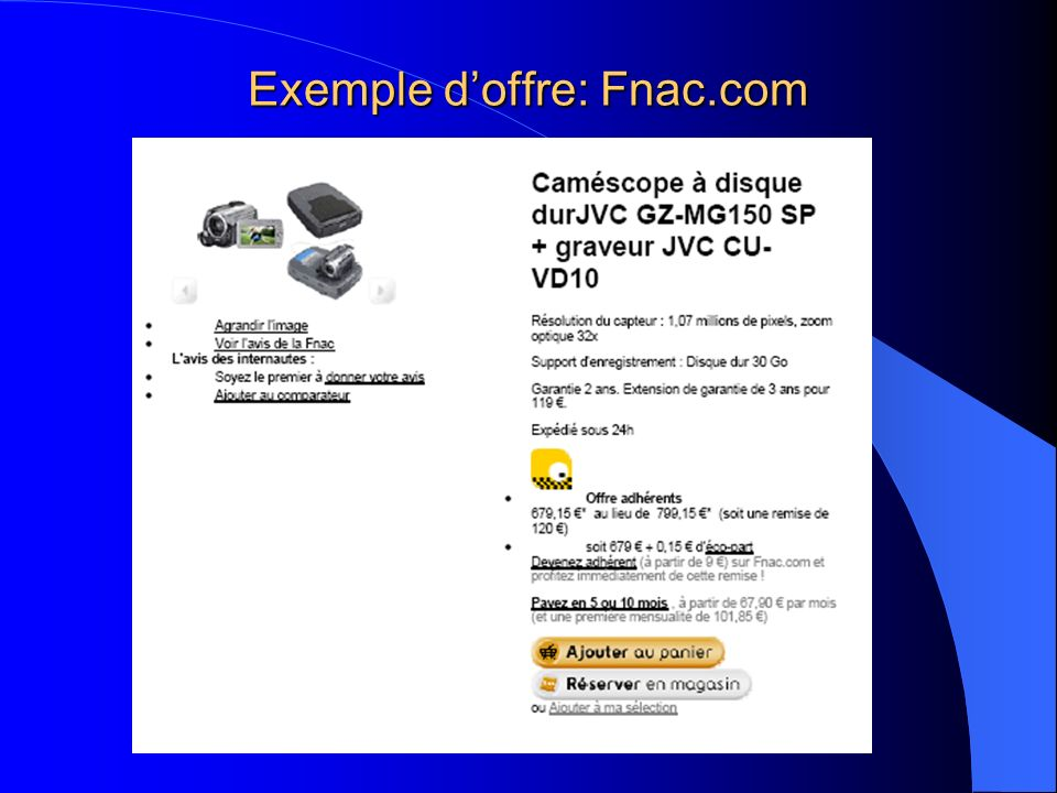 Exemple d'offre: Fnac.com