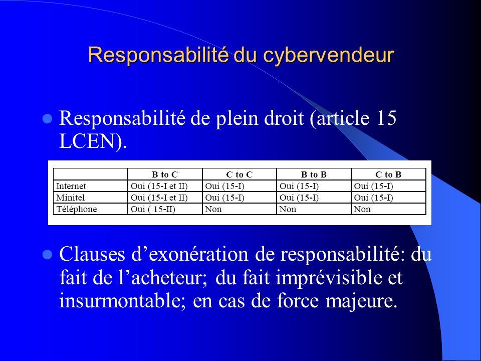 Responsabilité du cybervendeur
