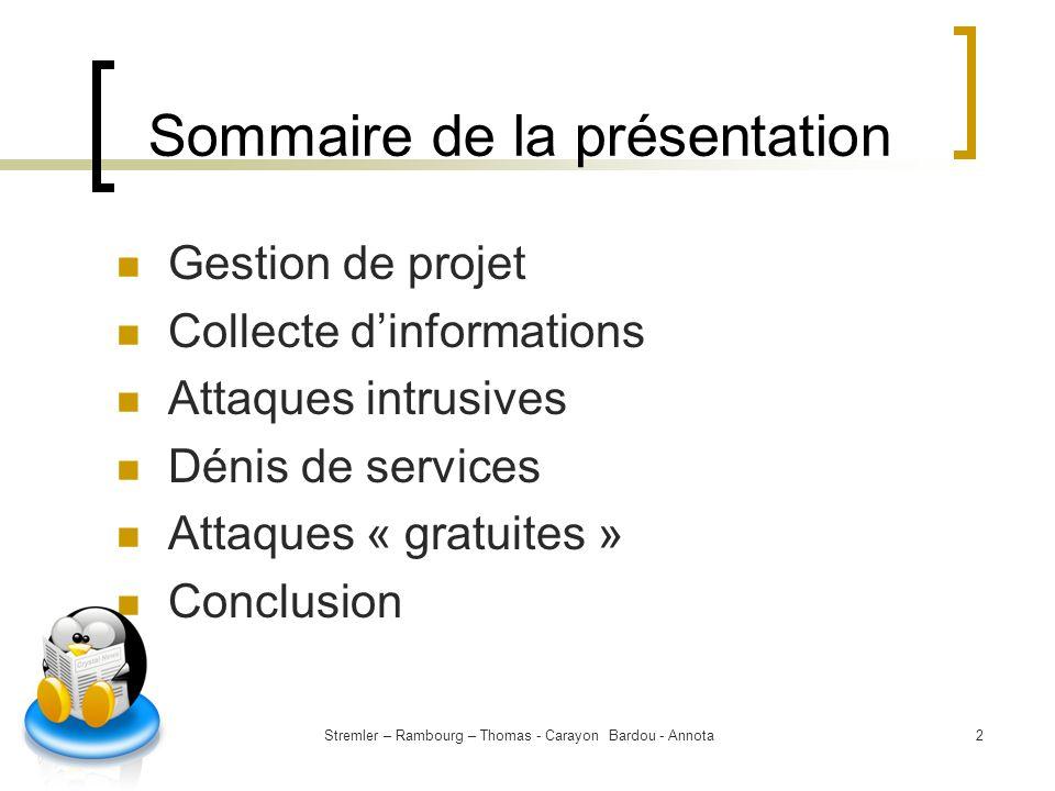 Sommaire de la présentation