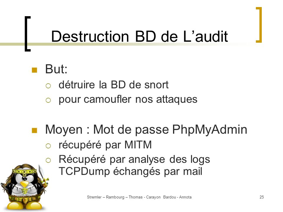 Destruction BD de L'audit