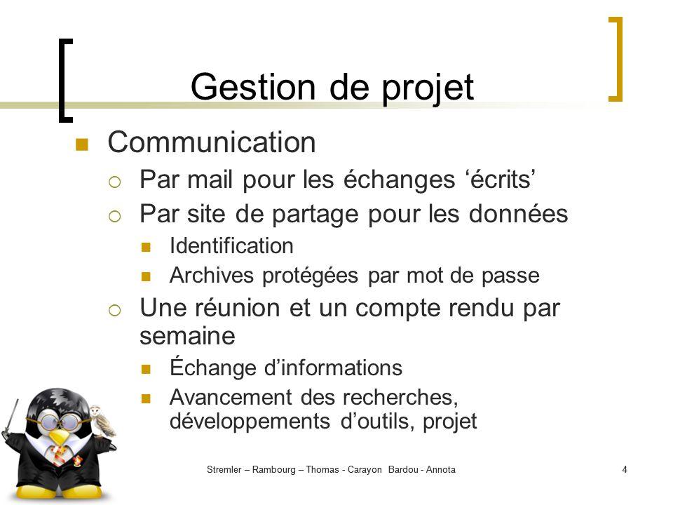 Gestion de projet Communication Par mail pour les échanges 'écrits'