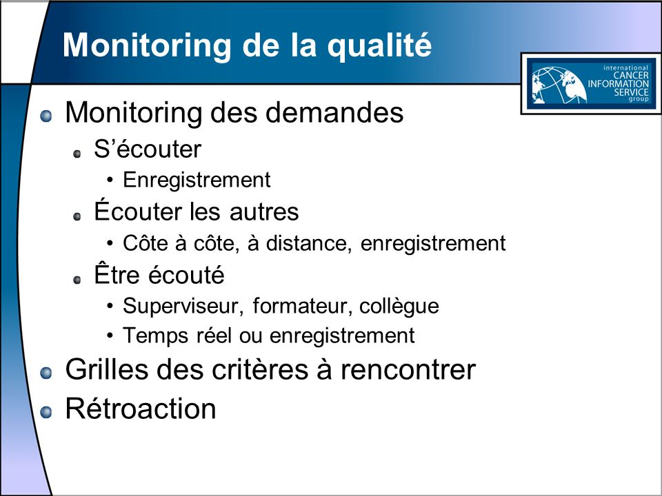 Monitoring de la qualité