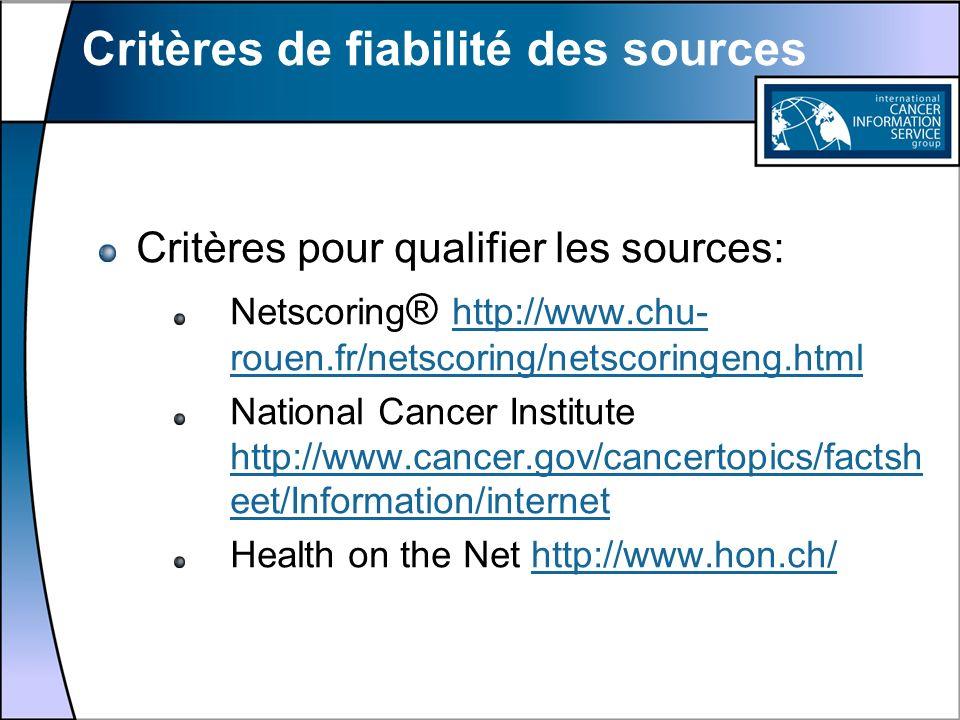 Critères de fiabilité des sources
