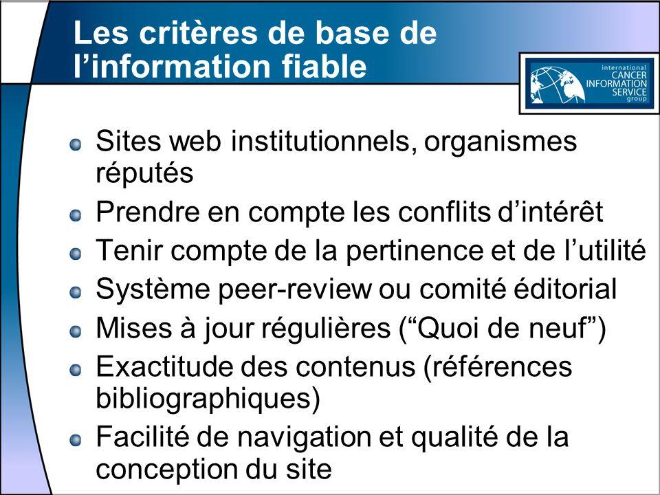 Les critères de base de l'information fiable