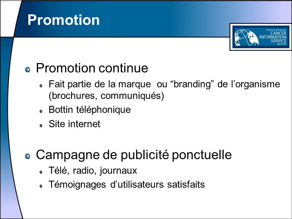 Promotion Promotion continue Campagne de publicité ponctuelle