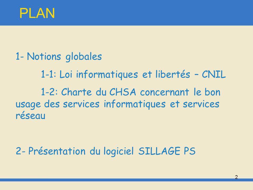 PLAN 1- Notions globales 1-1: Loi informatiques et libertés – CNIL