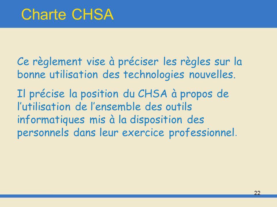 Charte CHSA Ce règlement vise à préciser les règles sur la bonne utilisation des technologies nouvelles.