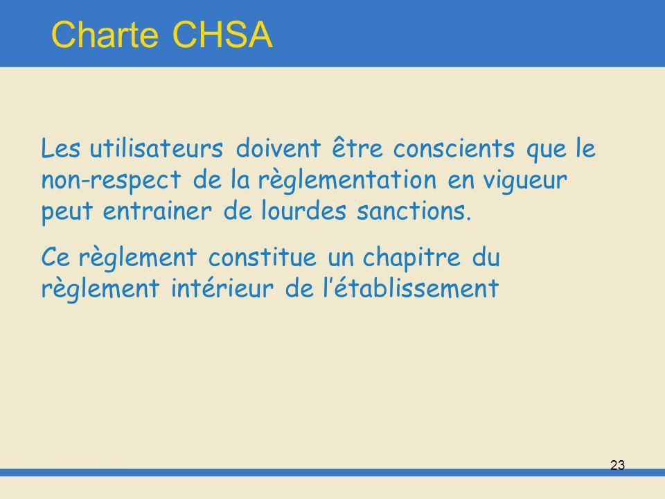Charte CHSA Les utilisateurs doivent être conscients que le non-respect de la règlementation en vigueur peut entrainer de lourdes sanctions.