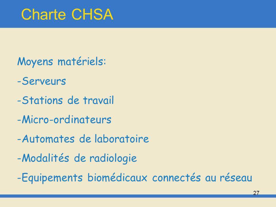 Charte CHSA Moyens matériels: Serveurs Stations de travail