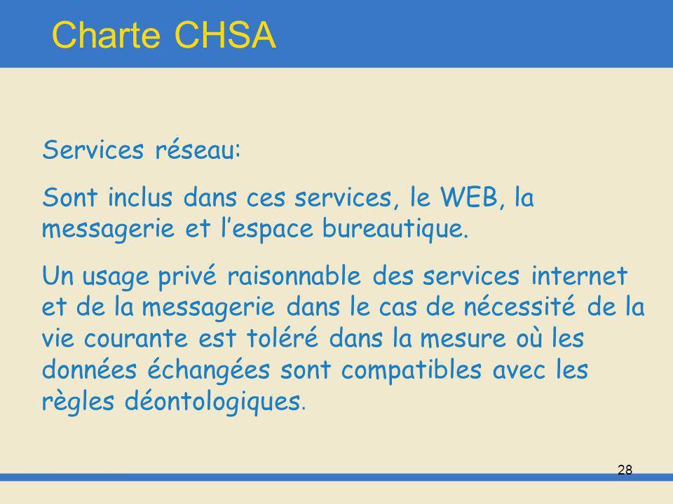 Charte CHSA Services réseau: