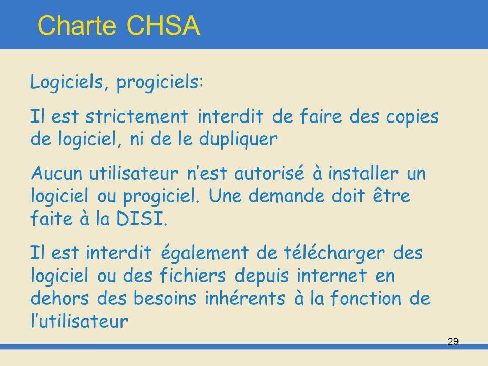 Charte CHSA Logiciels, progiciels: