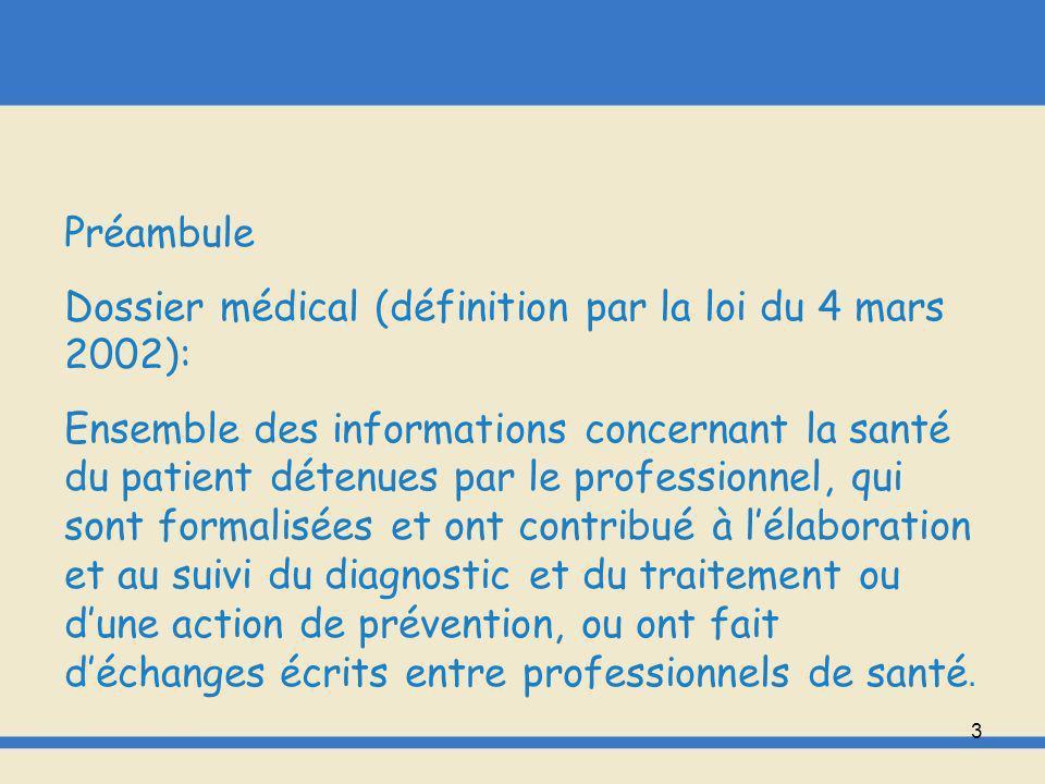 Préambule Dossier médical (définition par la loi du 4 mars 2002):