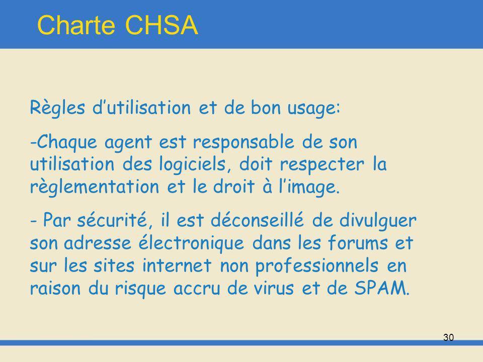 Charte CHSA Règles d'utilisation et de bon usage: