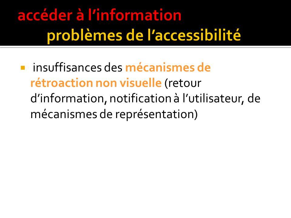 accéder à l'information problèmes de l'accessibilité