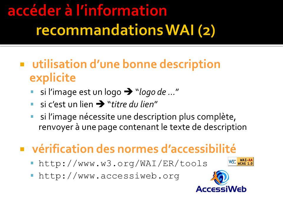 accéder à l'information recommandations WAI (2)