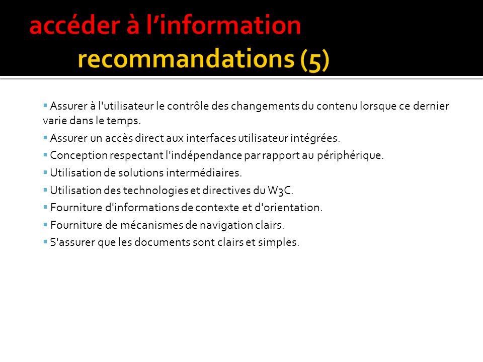accéder à l'information recommandations (5)
