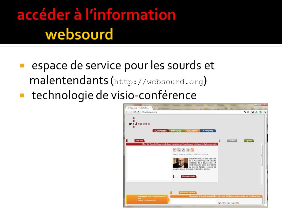 accéder à l'information websourd