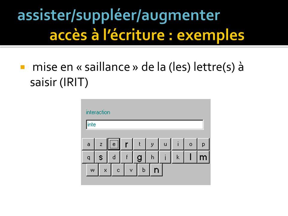 assister/suppléer/augmenter accès à l'écriture : exemples