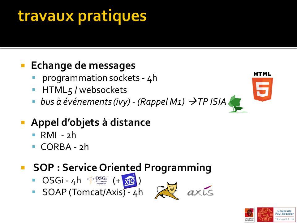 travaux pratiques Echange de messages Appel d'objets à distance