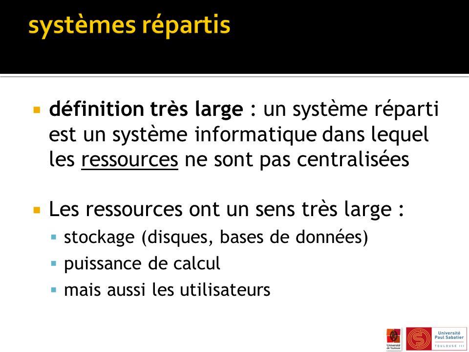 systèmes répartis définition très large : un système réparti est un système informatique dans lequel les ressources ne sont pas centralisées.