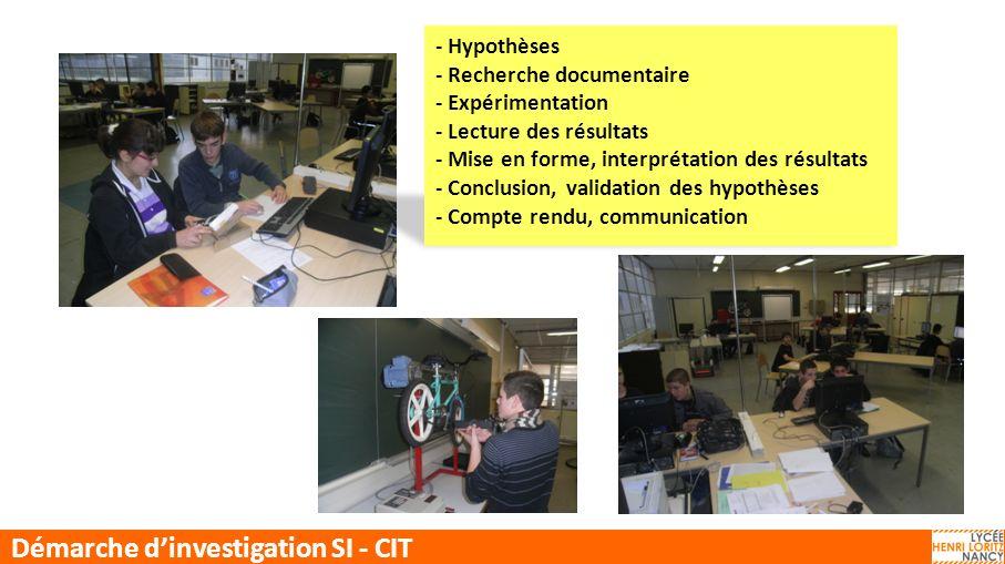Démarche d'investigation SI - CIT