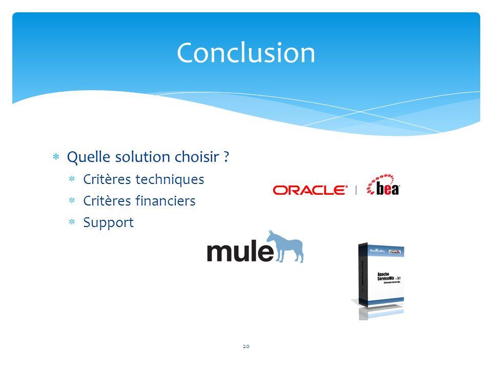 Conclusion Quelle solution choisir Critères techniques
