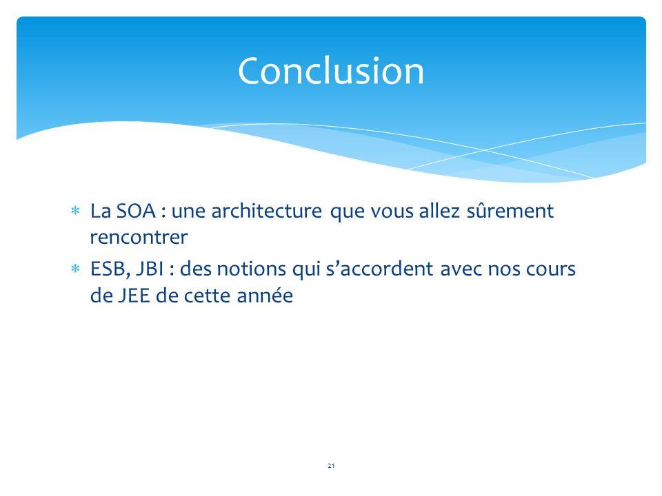 Conclusion La SOA : une architecture que vous allez sûrement rencontrer.