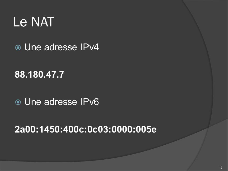 Le NAT Une adresse IPv4 88.180.47.7 Une adresse IPv6