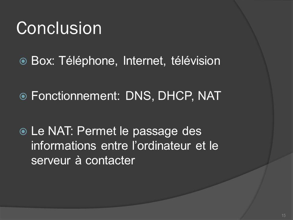 Conclusion Box: Téléphone, Internet, télévision