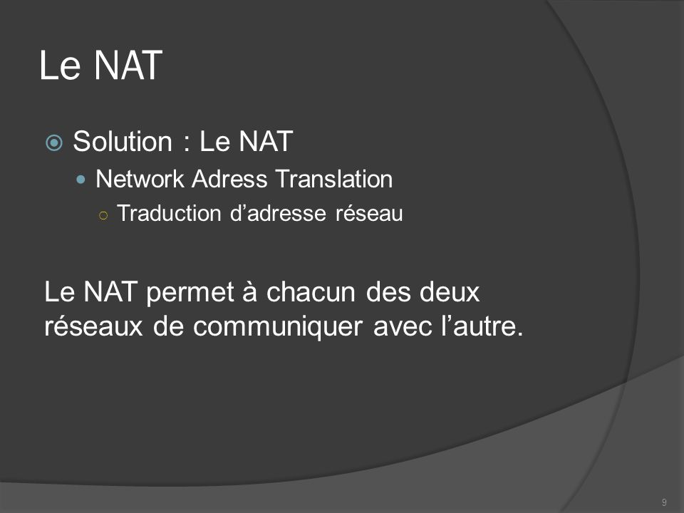 Le NAT Solution : Le NAT. Network Adress Translation. Traduction d'adresse réseau.