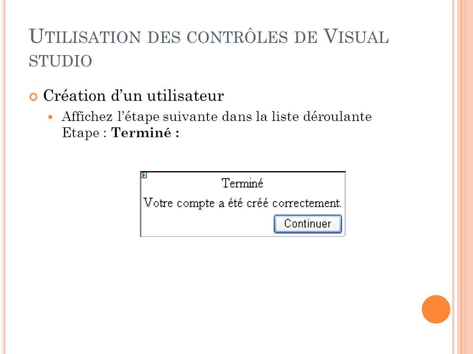 Utilisation des contrôles de Visual studio