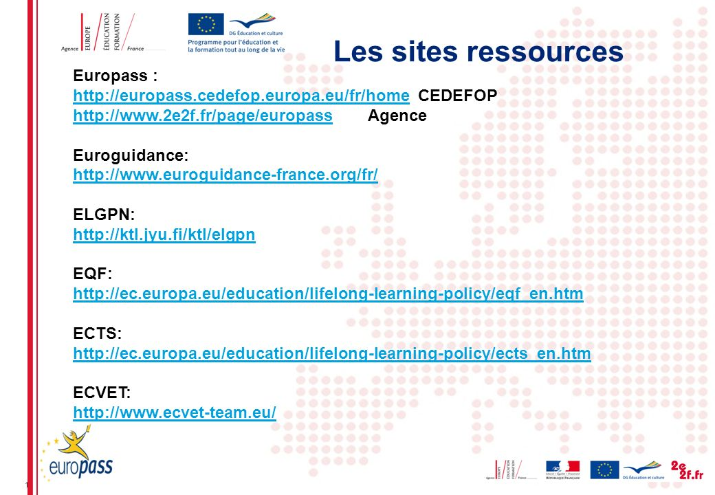 Les sites ressources Europass :