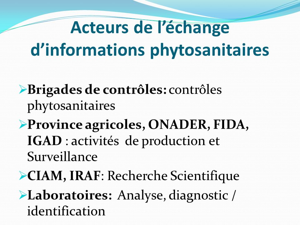 Acteurs de l'échange d'informations phytosanitaires