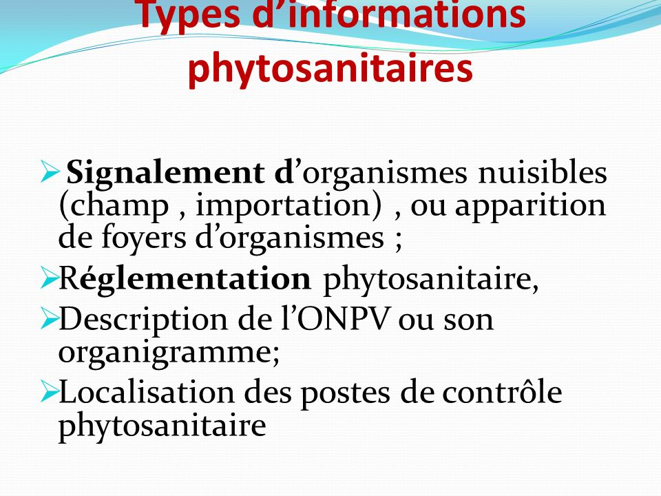 Types d'informations phytosanitaires