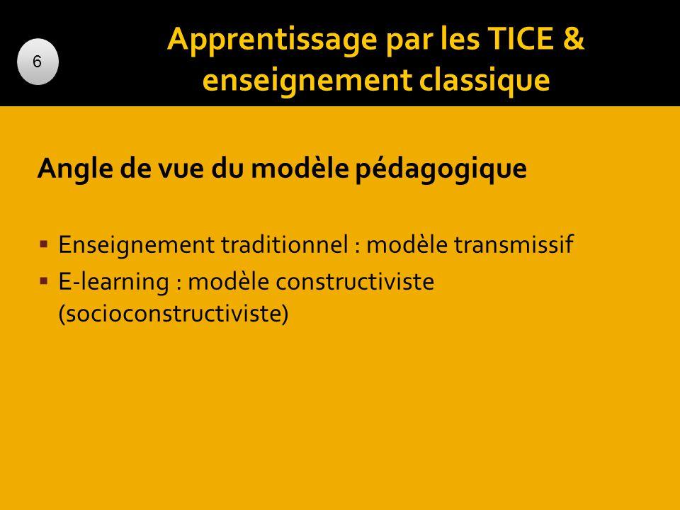 Apprentissage par les TICE & enseignement classique