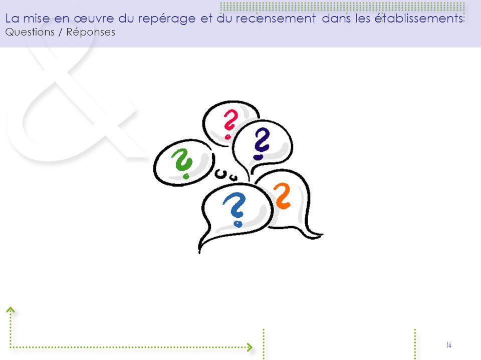 La mise en œuvre du repérage et du recensement dans les établissements Questions / Réponses