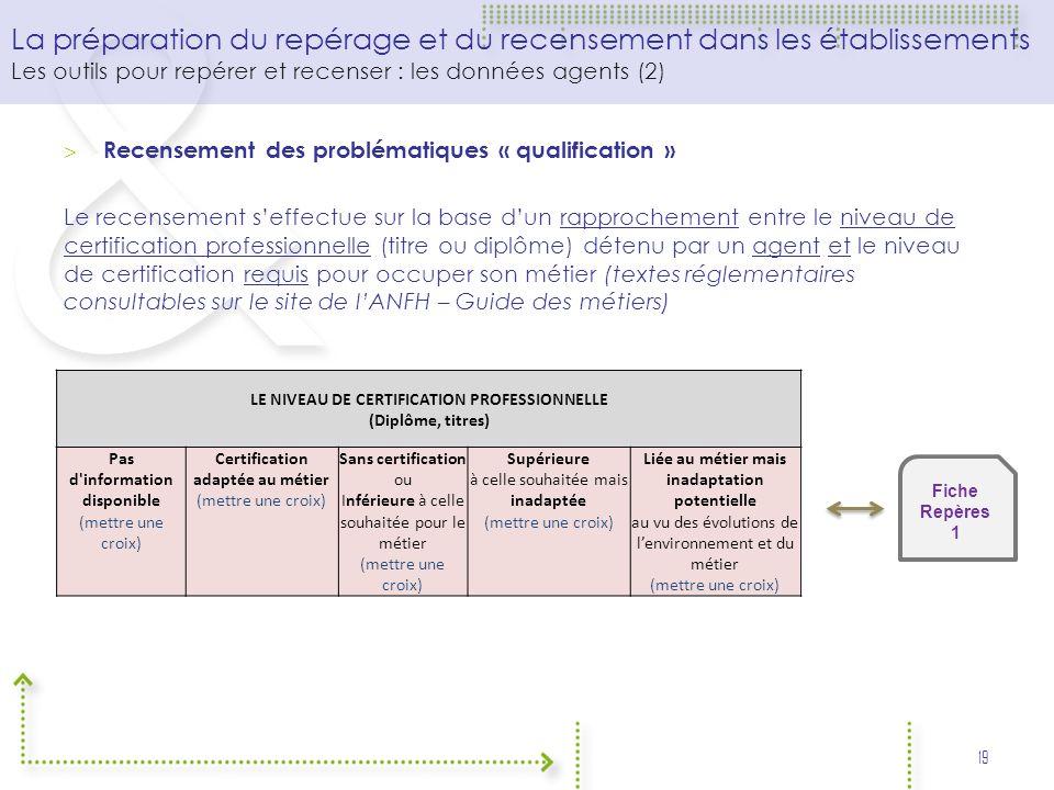 LE NIVEAU DE CERTIFICATION PROFESSIONNELLE (Diplôme, titres)