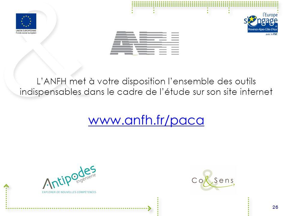 L'ANFH met à votre disposition l'ensemble des outils indispensables dans le cadre de l'étude sur son site internet www.anfh.fr/paca