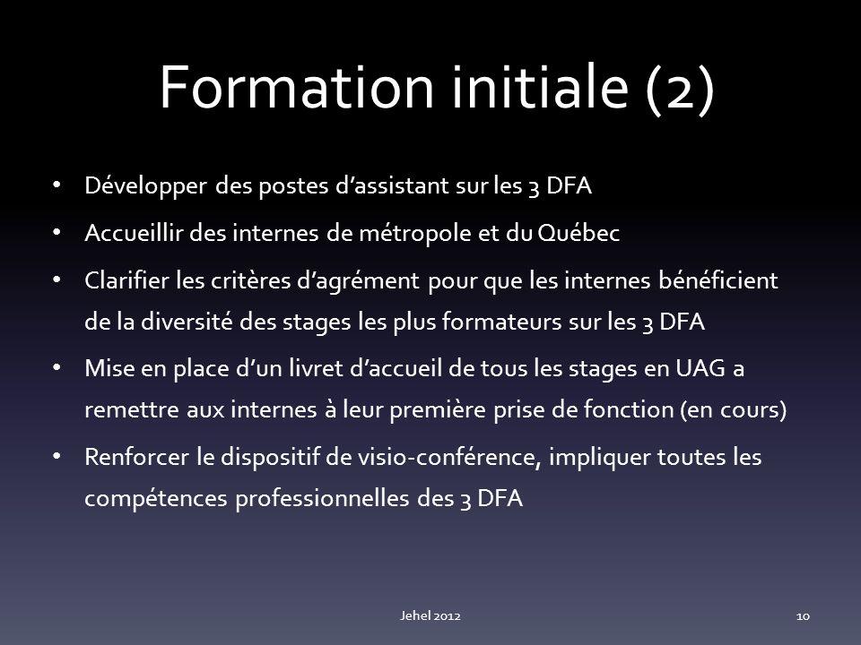 Formation initiale (2) Développer des postes d'assistant sur les 3 DFA