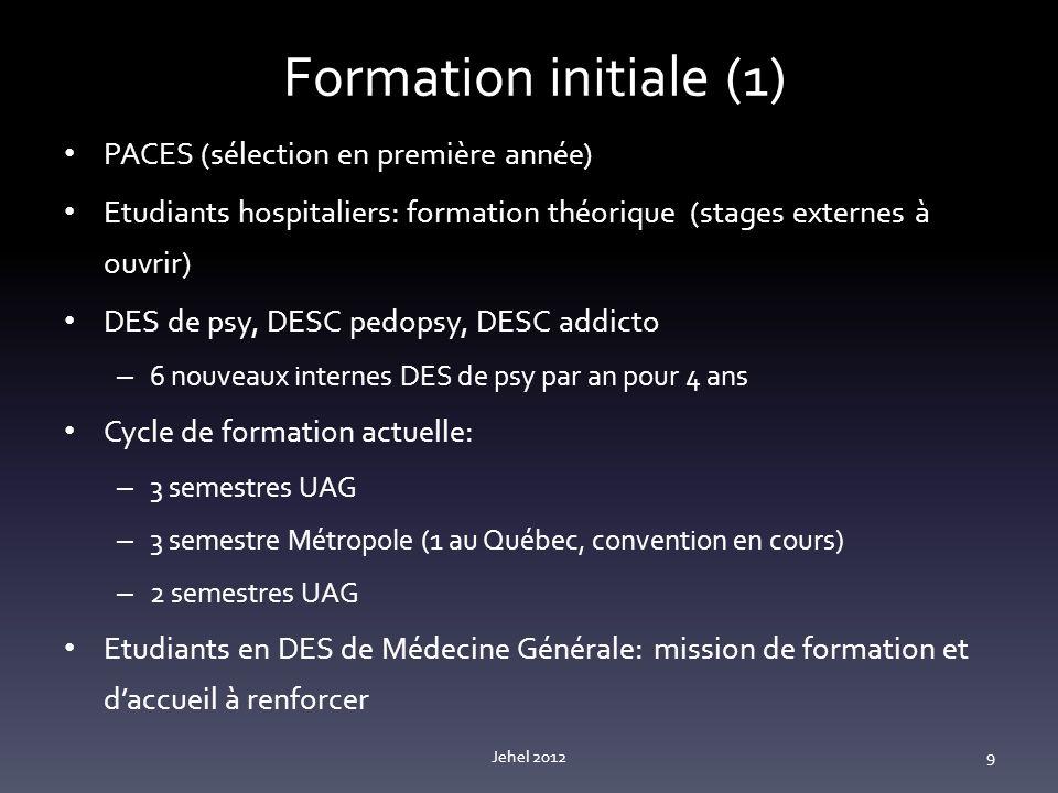 Formation initiale (1) PACES (sélection en première année)