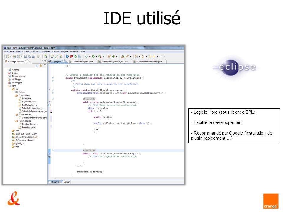 IDE utilisé Logiciel libre (sous licence EPL) Facilite le développement. - Recommandé par Google (installation de plugin rapidement …)