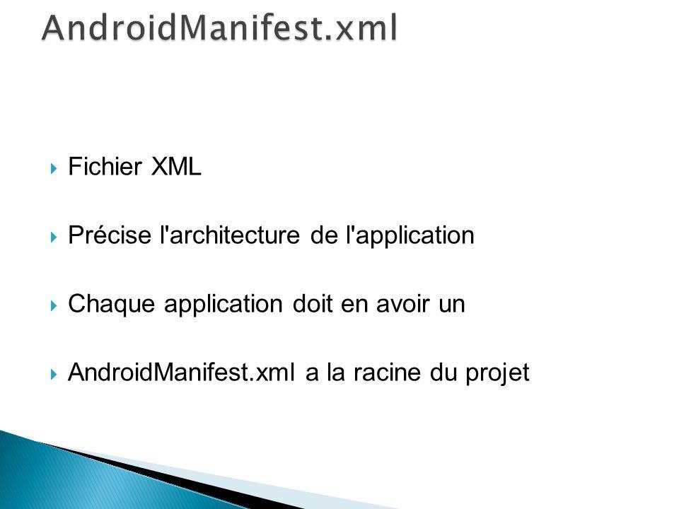 AndroidManifest.xml Fichier XML