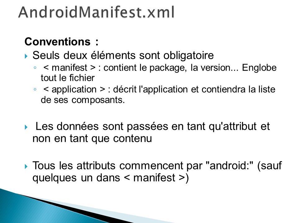 AndroidManifest.xml Conventions : Seuls deux éléments sont obligatoire